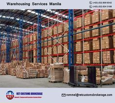 Looking for reputed company for Warehousing Services in Manila, Philippines? If yes, Contact RET Customs Brokerage now. Call us on 809 6542 for quote now. Warehouse, Manila Philippines, Transportation, Travel Photography, Road Trip, National Parks, Searching, Play, Create