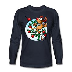 #Christmas #Tshirt #Reindeer #ChristmasTree  Reindeer in a Christmas tree men's long sleeve T-Shirt. Now available in the newly opened Christmas Sweater, T-shirt and Goodies shop for he USA. #Spreadshirt #Cardvibes #Tekenaartje
