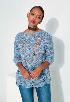 The blue aquarella knitted sweater - La Grenouille Tricote The blue aquarella knitted sweater: the summer sweater to make, I really like its wave movements, it is knitted with needles n ° Force Extr. Baby Knitting Patterns, Crochet Patterns, Diy Tricot Pull, Cardigan Au Crochet, Pull Bleu, Pull Crochet, Crochet Diy, Summer Sweaters, Summer Knitting