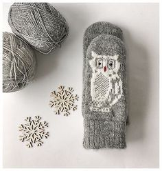 Owl mittens wool hand knitted M grey