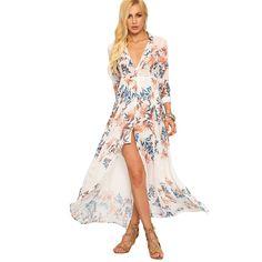 US $22.98 - COLROVE Summer Beach Style Woman Flower Print Chiffon Long Shirt Dresses Deep V Neck Women Casual Lapel Maxi Dress aliexpress.com