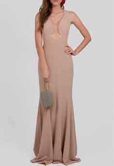 Vestido longo nude com transparência no busto e costas Powerlook - powerlook-V-MOB