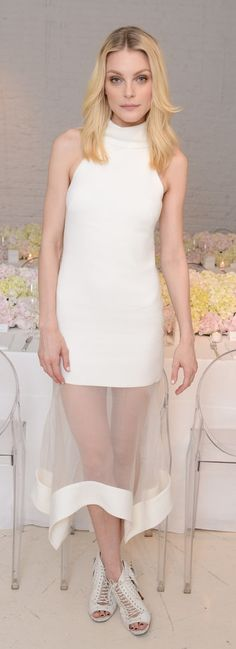 Jessica Stam went sheer in a classy way, subtly showing off her legs in a little white dress at a dinner for Camilla and Marc.