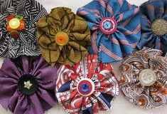 Button flower brooches made from neck ties