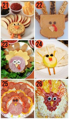 Fun food ideas for kids for Thanksgiving- I totally want to make a turkey pizza now. lol.