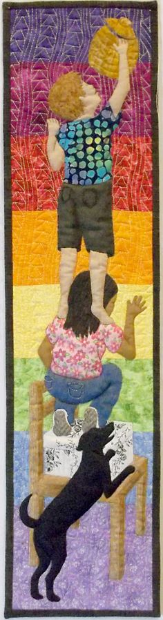 Cute Wall Art, Small Quilted Wall Hanging, Mini Textile Art Quilt, Fiber Art Quilt Multi-colored with Dog, Kids, Children  Brighten up your kitchen wall or a childs room with this cute wall hanging that depicts two children and a dog in their precarious attempt to reach the cookie jar. Or make it a gift to remind an old friend or relative of shared childhood misdemeanors or to encourage a young parent with mischievous children.  This miniature art quilt, entitled Almost There?, won first…