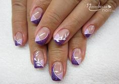 French manicure purple tips polish 22 ideas for 2019 Frensh Nails, French Manicure Nails, French Tip Nails, Cute Nails, Nail Tip Designs, Purple Nail Designs, French Nail Designs, Purple Nail Art, Pretty Nail Art