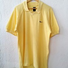 """NIKE Swoosh Golf Polo Shirt with Small Logo Embroidered Tee Adult Large Size S VS482  Tag reads: NIKE (S) nut seems like L Chest (below armpit to other below armpit): 23"""" inches Front length of shirt (top of shoulder to bottom of product): 27"""" inches Condition:  Vintage pre owned condition. Commonly slightly faded due to ages and use.   ** WE ARE USING DHL EXPRESS,PLEASE LEAVE YOUR PHONE NUMBER ON THE NOTE WHILE MAKE A PURCHASE**  If you have any questions, feel free to message me!"""