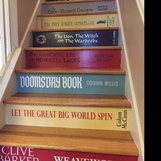 Custom Book Title Decals for stairs * the price is for EACH step riser. ANY title! Just send your book list & measurements to get started! Book Staircase, Staircase Ideas, Connie Willis, Basement Movie Room, Fandom Quotes, Home Library Design, Book Background, I Sent You, Custom Book