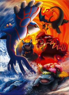 realistic legendary pokemon | Their names are Groudon, Kyogre, Blastoise, Charizard and Venusaur.