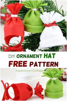 Ornament hat - If you like making diy handmade ornaments each year around Christmas, you're at the right place. This hat is easy to sew and you can choose between two free patterns: a baby hat ornament and a mini diy beanie. Both so cute! They make great diy Christmas decorations - get the free templates now!