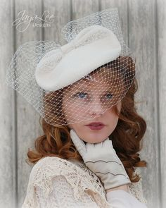 Tilt Hat With Veil 1940's Vintage Wedding by GreenTrunkDesigns