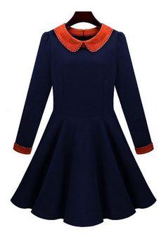 Sapphire Blue Zipper Peter Pan Collar Wool Dress