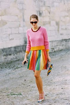 Pink and orange with colorful skirt   sweater and skirt combination   brights for summer or spring