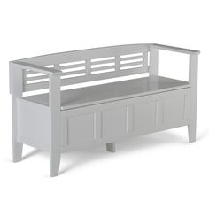 Simpli Home Adams Wood Entryway Bench with Storage in White-3AXCADABEN-W - The Home Depot