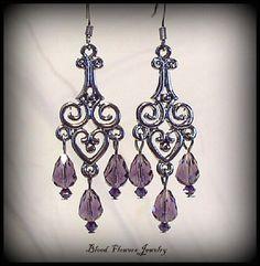 MERCY Gunmetal & Purple Gothic Victorian Earrings by Blood Flowers
