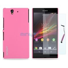 Sony Xperia Z Smartphone Bundle - Rubber Hard Case, Screen Protector, Stylus (Pink)