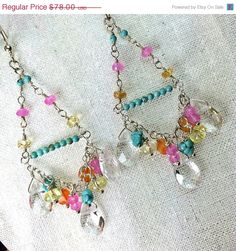 Colorful Chandelier Earrings Wire di DoolittleJewelry
