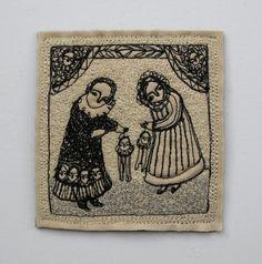 theatre days an embroidery artwork portrait folk by cathycullis