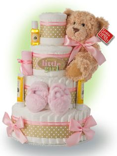 Who can get Daddy to do anything? His daughter. Celebrate the life of the new baby girl with our Daddy's Little Girl 4 tier diaper cake. Only $96.00