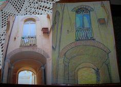 """""""Antico cortile""""... dalla foto al disegno a pastello..."""