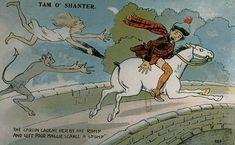 Postcard of a cartoon illustrating 'Tam O'Shanter' c 1905 - Burns Scotland