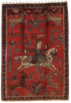 Bakhtiari Persian Carpet 220x150 A-Quality Semi-Antique