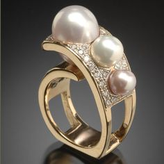 Pearl and Diamond Ring by RANDY POLK DESIGNS