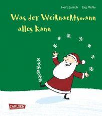 Was der Weihnachtsmann alles kann. Der Weihnachtsmann ist ein vielbeschäftiger Mann. Er kann ja auch eine ganze Menge. Im Winter springt er über Rentiere, schaut durch Kamine, baut Schneemänner und natürlich noch vieles mehr. Im Sommer jedoch geht er lieber Tango tanzen oder in der Wüste Bäume pflanzen... Doch vor allem denkt er an jeden von uns und wird uns alle reich beschenken. Ein wunderbares Weihnachtsbuch mit zauberhaften Versen von Heinz Janisch und Bildern von Jörg Mühle.