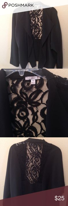 """Halo black dressy jacket SZ Med EUC Black dressy jacket by Halo Has pretty lace Back detail 75% Polyester 18% Rayon 4% spandex Dolman type Long sleeves Length is 25"""" from top of shoulder to hem Runs big Like New Condition Halo Jackets & Coats"""
