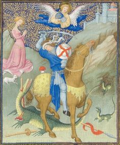 Manuscript MET Belles Heures of Jean de Berry Folio Dating From Paris, France Holding Institution Metropolitan Museum . Medieval Horse, Medieval Art, Medieval Life, Perseus And Medusa, Saint George And The Dragon, Saint Georges, The Cloisters, Book Of Hours, Baby Dragon