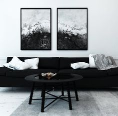 Black And White Abstract Painting Prints Black And White Abstract Wall Art Black And White Painting. black and white home decor. Living Room Paint, Living Room Grey, Home Living Room, Living Room Designs, Black Living Room Furniture, Monochromatic Living Room, Black And White Living Room Decor, White Home Decor, Black Decor