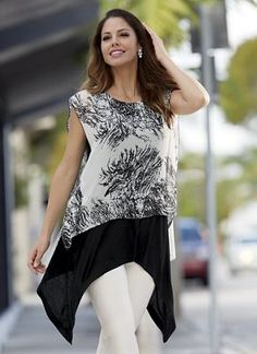 Branching Out Tunic from Monroe and Main.  The chiffon overlay has coverage plus a split-back for ease of movement, while the knit tank's hanky hem flutters at a flattering angle.