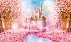 Disney Princess Birthday Party, Princess Theme Party, Birthday Tarpaulin Design, Cinderella Wallpaper, Pink Castle, Kids Room Wallpaper, Backdrop Design, Disney Images, Fantasy Castle