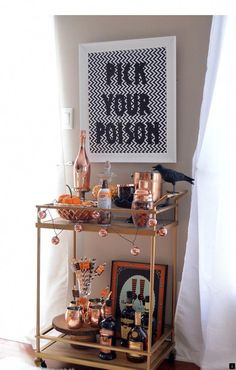 Halloween Bar Cart with Whiskey Hot Chocolate, , the whiskey is noticeable stron. - Happy Halloween - Best Day on Year 2019 Halloween Prop, Diy Halloween Party, Image Halloween, Casa Halloween, Halloween Tags, Halloween Home Decor, Halloween Decorations, Halloween Sounds, Halloween Tricks