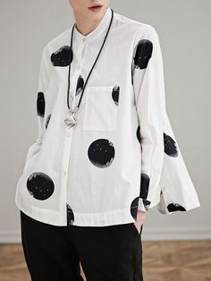 Miting Miting Loose Dot Printed Turn-Down Collar Long Sleeve Women Blouses look not only special, but also they always show ladies' glamour perfectly and bring surprise. Cheap Blouses, Blouses For Women, Georgia, Moda Chic, Blouse Online, Blouse Styles, Lace Tops, Printed Blouse, Casual Tops