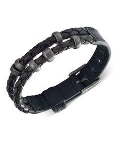 Fossil Men's Bracelet, Black Leather Double Wrap Bracelet - Fashion Jewelry - Jewelry & Watches - Macy's