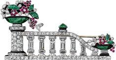 Platinum, diamond, ruby, emerald, jade, enamel Giardinetto brooch, Made in France, ca 1928.
