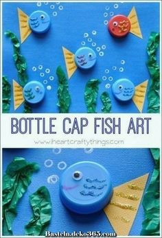 Bottle cap fish art sea creature crafts for kids preschool, preschool animal crafts, art Sea Animal Crafts, Sea Crafts, Animal Crafts For Kids, Toddler Crafts, Art For Kids, Recycled Crafts For Kids, Decor Crafts, Simple Kids Crafts, Cute Kids Crafts