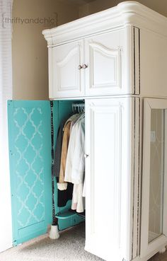 Armoire Makeover - pretty pop of color for inside.