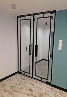 Drzwi Loftowe - Industrialne | Drzwi wewnętrzne - zabudowy szklane - drzwi loft - podłogi Mirror Door, Diy Home Crafts, Door Design, Entryway, Loft, Doors, Interior Design, House, Inspiration