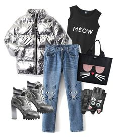 """""""When you're a truly cat lover #fashion 😻"""" by creatipizi ❤ liked on Polyvore featuring Ivy Park, Louis Vuitton and Karl Lagerfeld"""