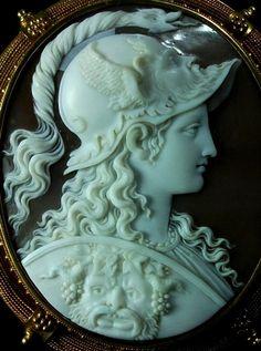 Exceptional Cameo of Athena Signed Filippo Tignani - Antique Cameos