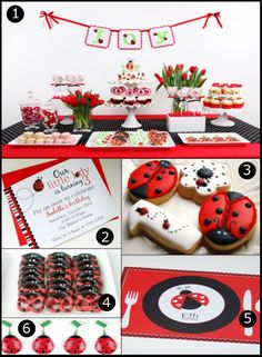 """Pretty table for a """"Ladybug"""" party! Love it for when McKinley turns 3!!"""