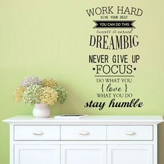 Never Give Up DREAM BIG Inspirational Quote wall stickers