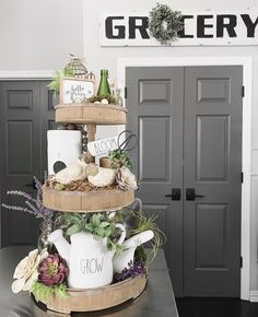 Rae Dunn: watering can, birdhouse Decorsteals: Grocery sign Floral & Succulants: Michaels, Hobby Lobby Modern Farmhouse Decor, Farmhouse Kitchen Decor, Coffee Bars In Kitchen, Tray Styling, Bar Displays, Lanterns Decor, Kitchen Signs, Tray Decor, Organizer