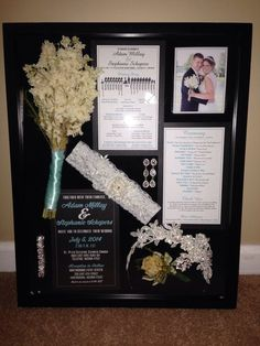 Wedding shadow box. Put invite, front and back of programs, flowers from me and husband, plus jewelry, headpiece, and garter! Pretty proud of myself!