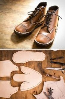 boots at home - Inspiration for shoe making Making boots at home is the most wonderful feeling of accomplishment. You can make them look exactly like you want them, choose the material, colour, decoration, height and so much more! Make Your Own Shoes, How To Make Shoes, Crea Cuir, Shoe Crafts, Barefoot Shoes, Shoe Pattern, Leather Projects, Leather Crafts, Doll Shoes