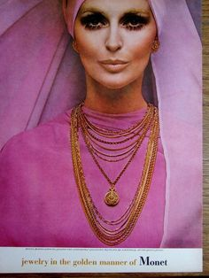 1968 MONET Golden Chains NECKLACE Earrings Contempora Vtg JEWELRY Photo Print Ad