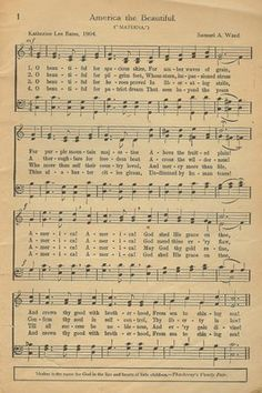 "Vintage ""America the Beautiful"" sheet music 